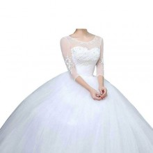 Three Quarter Ball Wedding Gown - White