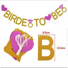 Bride To Be Glitter Letter Banner - 75cm Gold/Purple