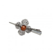 April Rose Stainless Steel Hair Clip - Silver/Brown