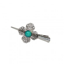 April Rose Stainless Steel Hair Clip - Silver/Turquoise
