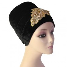 Embellished Puffy Turban (Big) – Black