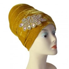 Embellished Puffy Turban (Small) – Gold