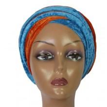Cap Turban - Burnt Orange/Blue