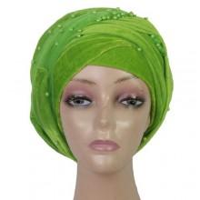 Beaded Cap Turban - Green