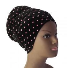 Puffy Turban – Black/Pink