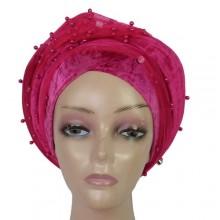 Beaded Cap Turban - Pink