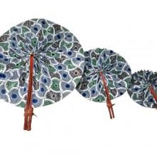 African Print Detail Fan - 3 Set - Multicolour