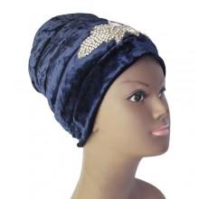 Embellished Puffy Turban (Small) - Dark Blue