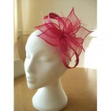 Bridal Mesh Fascinator Hat - Red