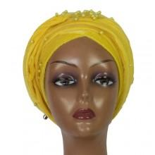 Beaded Cap Turban - Yellow