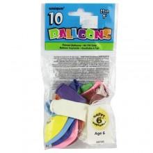 """10 Pieces of 9"""" Happy Birthday Balloons - Age 6 - Multicolor"""