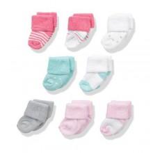 Toddler Baby Girl Socks, 8 Pack, 0-6 Months - Multicolour