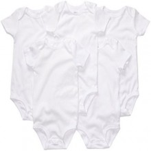 5-Piece Baby Singlet Body Suits - White