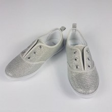 Gymboree Girls Sparkling Lace-less Sneakers- Silver