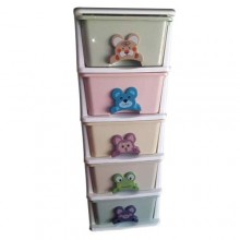 Plastic Baby Wardrobe - 5 In 1 - Multicolour