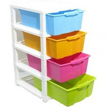Plastic Baby Wardrobe Storage Drawer/Cabinet - 4 Tier - Multicolour
