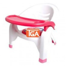 Kids Chair with Detachable Food Tray - Pink/White