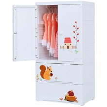 Plastic Baby Wardrobe - White/Multicolour