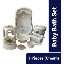 7 Piece Of Baby Bath Set - Cream