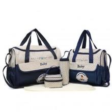 Baby Essence Diaper Bag Set - 5 Pieces - Blue/Multicolour