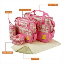 Just For You Multi-functional Diaper Bag Set - 5 Pieces - Pink/Multicolour