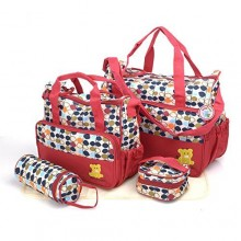 Just For You Diaper Bag Set - 5 Pieces - Red/Multicolour