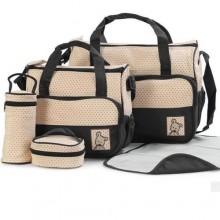 Practical Diaper Bag Set - 5 Pieces - Brown