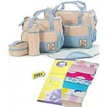 5-In-1 Diaper Bag + Free 8 PCS Towel - Multicolour