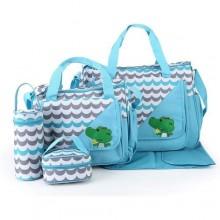 Cute Diaper Bag Sets - 5 Pieces - Blue/Grey