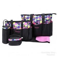Baby Unique Diaper Bag Set - 5 Pieces - Brown/Multicolour