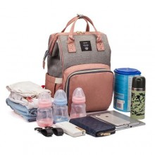 Living Traveling Share Multifunctional Diaper Bag -Peach & Grey