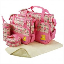 Just For You Diaper Bag Set - 5 Pieces - Pink/Multicolour