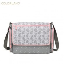Colorland Trendy Diaper Bag With Wipe Case - Gray/Pink