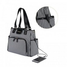 Colorland Double Strap Diaper Bag With USB Slot - Black/White
