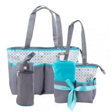 Portable Diaper Bag Set - 5 Pieces - Grey/Multicolour