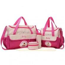 Baby Quality Diaper Bag Set - 3 Pieces - Pink/Multicolour