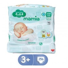 Mamia 256 Baby Sensitive Wipes - 64x4 Count ( 0-3 years)