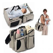 Foldable Baby Bed & Bag - grey