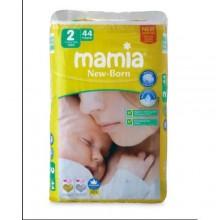 Mamia Size 2 - New Born Diaper - (44 Count) - 2-5kg