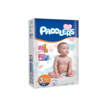 Paddlers Maxi Premium Diapers, Jumbo Pack (Size 3) ,5-9 month - 70 Counts.