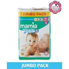 Mamia Ultra Dry Diapers - Jumbo Pack - Size 4 Plus - 78 Count