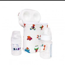 Portable Warmer Bag With 2 Bootles - 3 In 1 - White/Multicolour