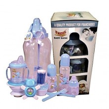 Excel Baby Bank Feeding Bottle Set - 11 Pieces - Blue