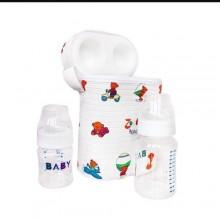 Bottle Warmer Bag With 2 Bottles - 3 In 1 - White/Multicolour