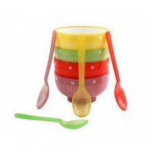 Kids Feeding Bowl with Spoons Set - 4 Pieces - Multicolour
