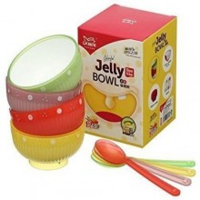 Jelly Bowl Baby Feeding Bowl with Spoons Set - 4 Pieces - Multicolour
