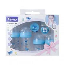 Mom Easy Feeding Bottle Set - 7 Pieces - Blue/Transparent/White