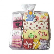 Newborn Baby Girl Body Suits - 3 Pieces + 4 Socks, 3 Towels - Multicolour