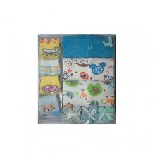 Baby Sleep Suits With 4 Socks & 3 Towels - Multicolour