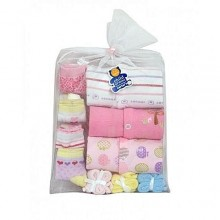 Newborn Infant Baby Girl Body Suits - 3 Pieces + 4 Socks, 3 Towels - Multicolour